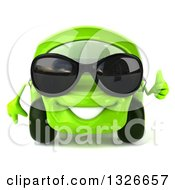 Clipart Of A 3d Green Compact Car Wearing Sunglasses And Giving A Thumb Up Royalty Free Illustration