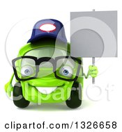 Clipart Of A 3d Bespectacled Lime Green Compact Car Mechanic Holding A Blank Sign Royalty Free Illustration