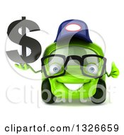Clipart Of A 3d Bespectacled Lime Green Compact Car Mechanic Facing Holding A Dollar Symbol And Thumb Up Royalty Free Illustration