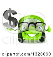 Clipart Of A 3d Bespectacled Green Compact Car Giving A Thumb Up And Holding A Dollar Symbol Royalty Free Illustration
