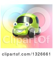 Clipart Of A 3d Happy Green Compact Car On A Colorful Background Royalty Free Illustration