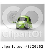 Clipart Of A 3d Happy Green Compact Car Holding A Euro Symbol On Gray Royalty Free Illustration