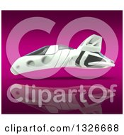 Clipart Of A 3d Futuristic Hover Vehicle Over Pink Royalty Free Illustration