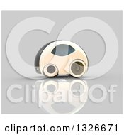 Clipart Of A 3d Futuristic Compact Self Driving Car On Gray 3 Royalty Free Illustration by Julos