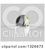 Clipart Of A 3d Futuristic Compact Self Driving Car With Green Elements On Gray 5 Royalty Free Illustration by Julos