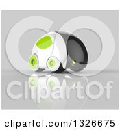 Clipart Of A 3d Futuristic Compact Self Driving Car With Green Elements On Gray 3 Royalty Free Illustration by Julos