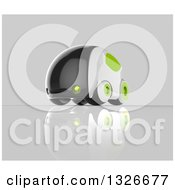 Clipart Of A 3d Futuristic Compact Self Driving Car With Green Elements On Gray 2 Royalty Free Illustration by Julos