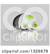 Clipart Of A 3d Futuristic Compact Self Driving Car With Green Elements On Gray Royalty Free Illustration