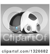 Clipart Of A 3d Futuristic Compact Self Driving Car On Gray 5 Royalty Free Illustration by Julos