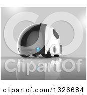 Clipart Of A 3d Futuristic Compact Self Driving Car On Gray Royalty Free Illustration