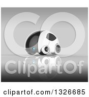 Clipart Of A 3d Futuristic Compact Self Driving Car On Gray 4 Royalty Free Illustration by Julos