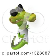 Clipart Of A 3d Casual Crocodile Wearing Sunglasses And A White T Shirt And Pointing Around A Sign Royalty Free Illustration