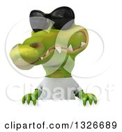 Clipart Of A 3d Casual Crocodile Wearing Sunglasses And A White T Shirt Over A Sign Royalty Free Illustration