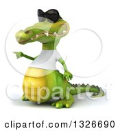 Clipart Of A 3d Casual Crocodile Wearing Sunglasses And A White T Shirt Pointing To The Left Royalty Free Illustration