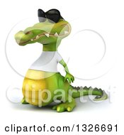Clipart Of A 3d Casual Crocodile Wearing Sunglasses And A White T Shirt Facing Left Royalty Free Illustration