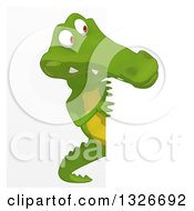 Clipart Of A Cartoon Crocodile Looking Around A Sign Royalty Free Illustration