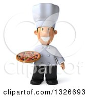 Clipart Of A 3d Short White Male Chef Holding A Pizza Royalty Free Illustration