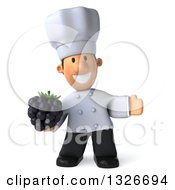 Clipart Of A 3d Short White Male Chef Holding A Blackberry And Presenting Royalty Free Illustration
