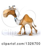 Clipart Of A 3d Bespectacled Arabian Doctor Camel Walking To The Left Royalty Free Illustration