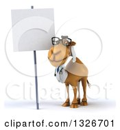 Clipart Of A 3d Bespectacled Arabian Doctor Camel By A Blank Sign Royalty Free Illustration