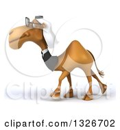Clipart Of A 3d Bespectacled Arabian Business Camel Walking To The Left Royalty Free Illustration