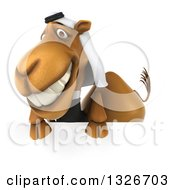 Clipart Of A 3d Arabian Business Camel Smiling Over A Sign Royalty Free Illustration