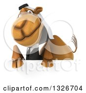 Clipart Of A 3d Arabian Business Camel Over A Sign Royalty Free Illustration by Julos