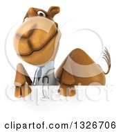 Clipart Of A 3d Doctor Camel Over A Sign Royalty Free Illustration
