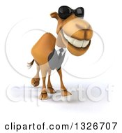 Clipart Of A 3d Business Camel Wearing Sunglasses Smiling And Walking Slightly Right Royalty Free Illustration