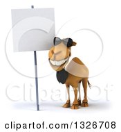 Clipart Of A 3d Business Camel Wearing Sunglasses And Smiling By A Blank Sign Royalty Free Illustration