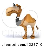 Clipart Of A 3d Bespectacled Business Camel Facing Left Royalty Free Illustration