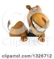 Clipart Of A 3d Business Camel Grinning Over A Sign Royalty Free Illustration