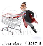 Clipart Of A 3d Happy Young White Super Businessman Flying With An Empty Shopping Cart Royalty Free Illustration