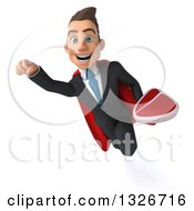 Clipart Of A 3d Happy Young White Super Businessman Flying With A Beef Steak Royalty Free Illustration