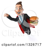 Clipart Of A 3d Happy Young White Super Businessman Flying With A Double Cheeseburger Royalty Free Illustration
