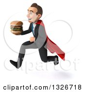 Clipart Of A 3d Happy Young White Super Businessman Sprinting To The Left With A Double Cheeseburger Royalty Free Illustration