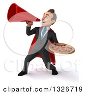Clipart Of A 3d Happy Young White Super Businessman Announcing With A Megaphone And Holding A Pizza Royalty Free Illustration
