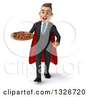 Clipart Of A 3d Happy Young White Super Businessman Walking With A Pizza Royalty Free Illustration
