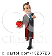 Clipart Of A 3d Full Length Happy Young White Super Businessman Holding A Strawberry And Looking Around A Sign Royalty Free Illustration