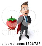 Clipart Of A 3d Happy Young White Super Businessman Holding Up A Strawberry Royalty Free Illustration