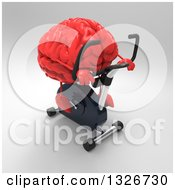 Clipart Of A 3d Red Brain Exercising On A Spin Bike Over Gray Royalty Free Illustration