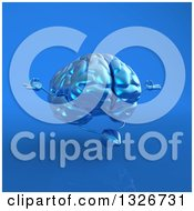 Clipart Of A 3d Blue Brain Character Meditating On Blue 2 Royalty Free Illustration
