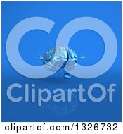 Clipart Of A 3d Blue Brain Character Meditating On Blue 3 Royalty Free Illustration