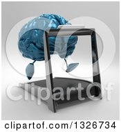 Clipart Of A 3d Blue Brain Character Running On A Treadmill 2 Royalty Free Illustration