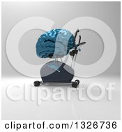 Clipart Of A 3d Blue Brain Character Exercising On A Spin Bike 3 Royalty Free Illustration