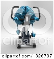 Clipart Of A 3d Blue Brain Character Exercising On A Spin Bike Royalty Free Illustration
