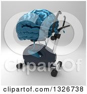 Clipart Of A 3d Blue Brain Character Exercising On A Spin Bike 2 Royalty Free Illustration