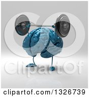 Clipart Of A 3d Blue Brain Character Working Out Lifting A Barbell Over Its Head Royalty Free Illustration
