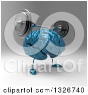 Clipart Of A 3d Blue Brain Character Working Out Lifting A Barbell Over Its Head 2 Royalty Free Illustration