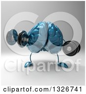 Clipart Of A 3d Blue Brain Character Working Out With Dumbbells Royalty Free Illustration